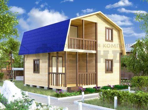 6х4- с крышей с фасада и террасой+балконом шириной 2м