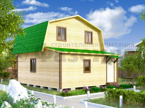 6х5- с скатом с фасада и верандой шириной 2м 5