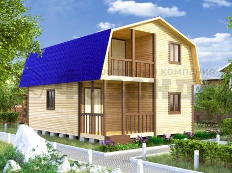 6х6- с крышей с фасада и террасой+балконом шириной 2м 3