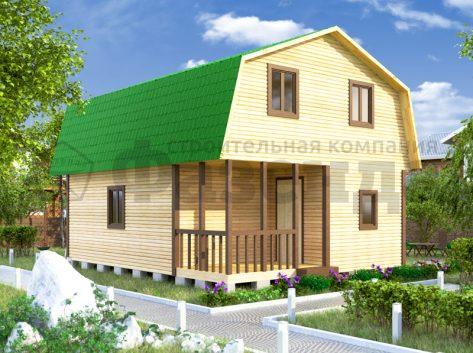 6х6- с крышей с фасада и террасой+верандой шириной 2м 4